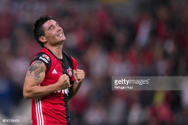 Gustavo Alustiza of Atlas celebrates after scoring the second goal of his team during the 2nd round match between Atlas and Pumas UNAM as part of the...