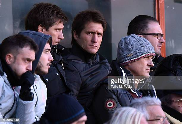 Gustavo and Guillermo Barros Schelotto of US Citta' di Palermo look on in VIP standing during the Serie A match between Genoa CFC and US Citta di...