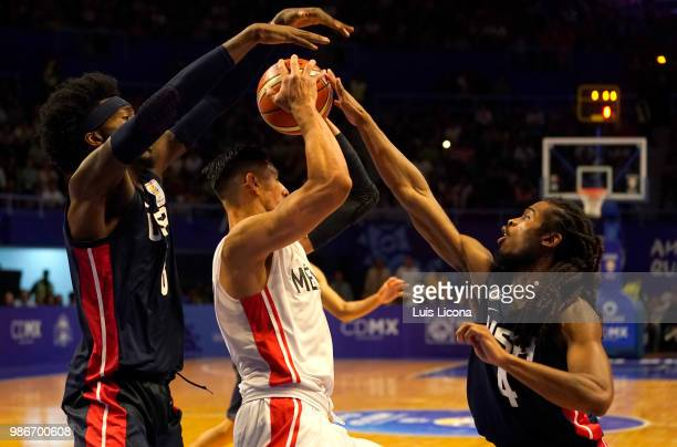 Gustavo Anon of Mexico competes against Marcus Thornton of USA during the match between Mexico and USA as part of the FIBA World Cup China 2019...