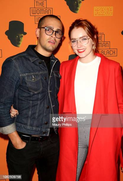 Gustavo Astudillo and Amy Forsyth arrive at the Opening Night Performance of The Woman In Black at the Pasadena Playhouse on October 18 2018 in...