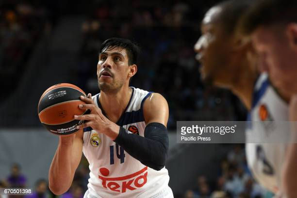 Gustavo Ayón #14 of Real Madrid in action during the Euroleague basketball first quarterfinal match between Real Madrid and Darussafaka Dogus at...