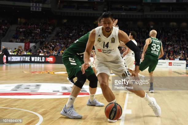 Gustavo Ayón of Real Madrid in action during the 2018/2019 Turkish Airlines EuroLeague Regular Season Round 13 game between Real Madrid and...
