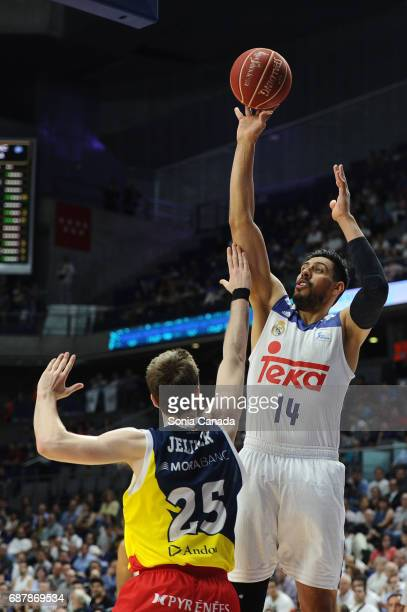 Gustavo Ayon #14 center of Real Madrid during the Liga Endesa Play off game between Real Madrid and Andorra at Barclaycard Center on May 24 2017 in...