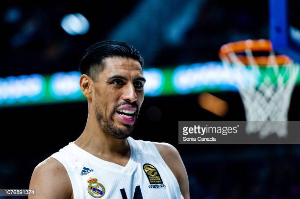 Gustavo Ayon #14 center of Real Madrid in action during the 2018/2019 Turkish Airlines Euroleague Regular Season Round 16 game between Real Madrid...