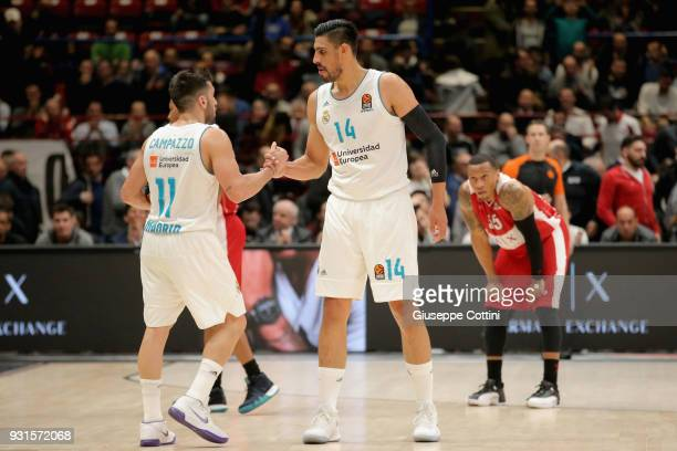 Gustavo Ayon #14 of Real Madrid and Facundo Campazzo #11 of Real Madrid during the 2017/2018 Turkish Airlines EuroLeague Regular Season Round 26 game...