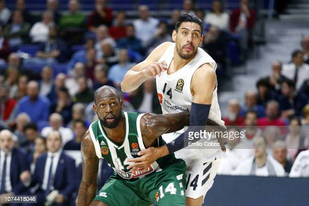 Gustavo Ayon #14 of Real Madrid competes with James Gist #14 of Panathinaikos OPAP Athens during the 2018/2019 Turkish Airlines EuroLeague Regular...