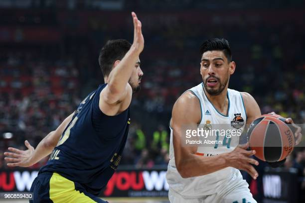Gustavo Ayon #14 of Real Madrid competes with Nikola Kalinic #33 of Fenerbahce Dogus Istanbul in action during the 2018 Turkish Airlines EuroLeague...