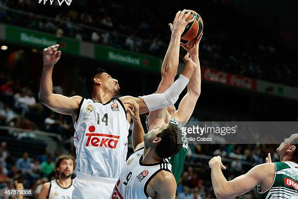 Gustavo Ayon #14 of Real Madrid in action during the 20142015 Turkish Airlines Euroleague Basketball Regular Season Date 1 between Real Madrid v...