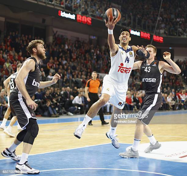 Gustavo Ayon #14 of Real Madrid in action during the 2016/2017 Turkish Airlines EuroLeague Regular Season Round 19 game between Brose Bamberg v Real...
