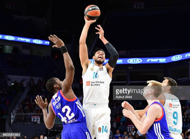 Gustavo Ayon #14 of Real Madrid in action during the 2017/2018 Turkish Airlines EuroLeague Regular Season Round 1 game between Anadolu Efes Istanbul...