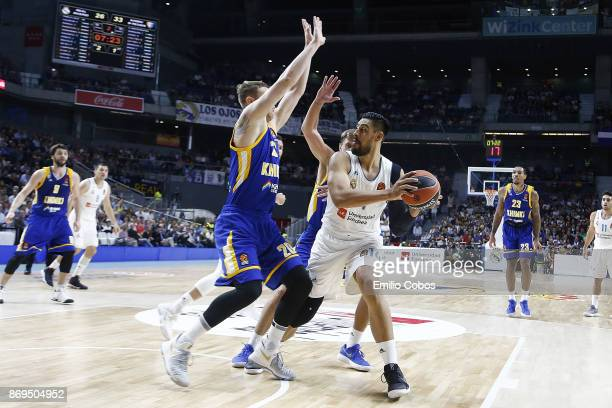 Gustavo Ayon #14 of Real Madrid in action during the 2017/2018 Turkish Airlines EuroLeague Regular Season Round 5 game between Real Madrid and Khimki...