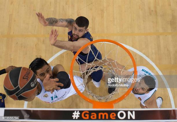 Gustavo Ayon #14 of Real Madrid in action during the 2017/2018 Turkish Airlines EuroLeague Regular Season game between FC Barcelona Lassa and Real...