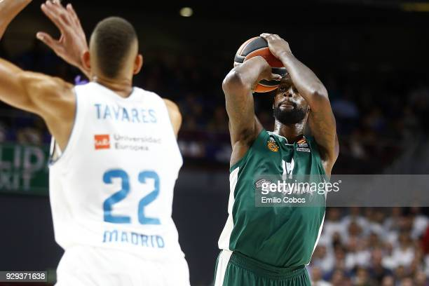 Gustavo Ayon #14 of Real Madrid in action during the 2017/2018 Turkish Airlines EuroLeague Regular Season Round 25 game between Real Madrid and...