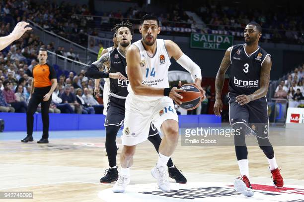 Gustavo Ayon #14 of Real Madrid in action during the 2017/2018 Turkish Airlines EuroLeague Regular Season Round 30 game between Real Madrid and Brose...