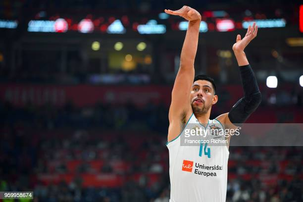 Gustavo Ayon #14 of Real Madrid in action during the 2018 Turkish Airlines EuroLeague F4 Semifnal B game between Semifinal A CSKA Moscow v Real...