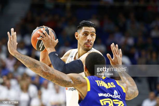 Gustavo Ayon #14 of Real Madrid in action during the 2018/2019 Turkish Airlines EuroLeague Regular Season Round 7 game between Real Madrid and Khimki...