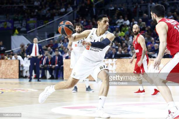 Gustavo Ayon #14 of Real Madrid in action during the 2018/2019 Turkish Airlines EuroLeague Regular Season Round 18 game between Real Madrid and...