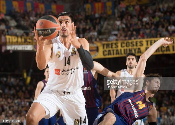 Gustavo Ayon #14 of Real Madrid in action during the 2018/2019 Turkish Airlines EuroLeague Regular Season Round 24 game between FC Barcelona Lassa...