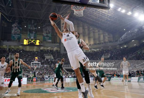 Gustavo Ayon #14 of Real Madrid in action during the Turkish Airlines EuroLeague Play Off game 3 between Panathinaikos Opap Athens v Real Madrid at...