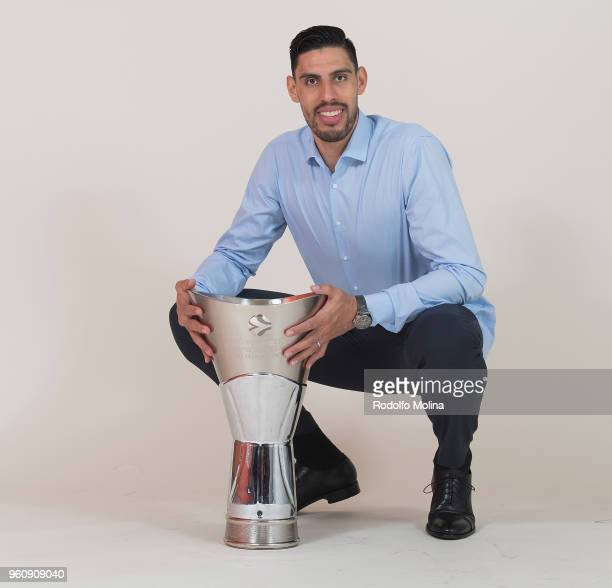 Gustavo Ayon #14 of Real Madrid poses during 2018 Turkish Airlines EuroLeague F4 Champion Photo Session with Trophy at Stark Arena on May 20 2018 in...