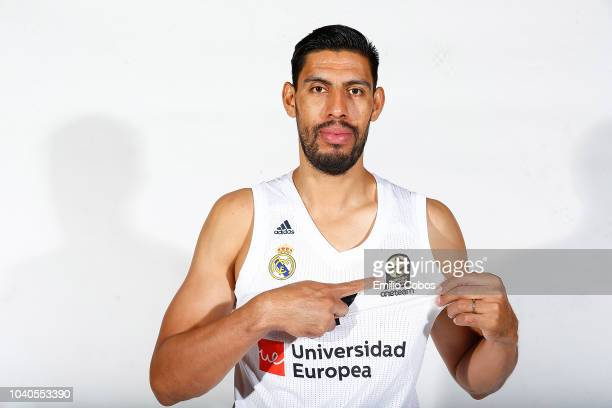 Gustavo Ayon #14 of Real Madrid poses during the Real Madrid 2018/2019 Turkish Airlines EuroLeague Media Day at Sports City of Real Madrid on...