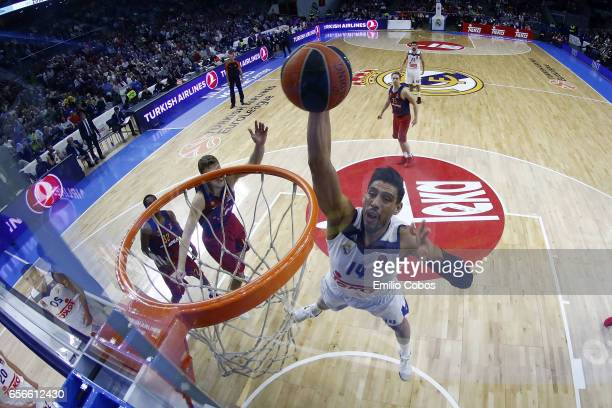 Gustavo Ayon #14 of Real Madridin action during the 2016/2017 Turkish Airlines EuroLeague Regular Season Round 27 game between Real Madrid v FC...