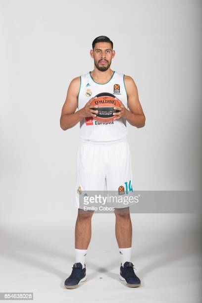 Gustavo Ayon #14 poses during Real Madrid 2017/2018 Turkish Airlines EuroLeague Media Day at Wizink Arena on September 25 2017 in Madrid Spain