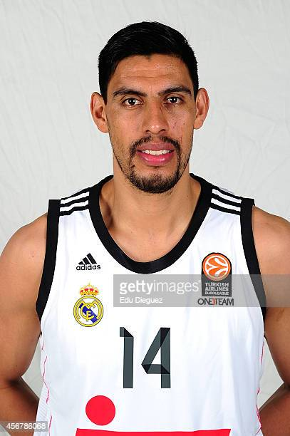 Gustavo Ayon #14 poses during the Real Madrid 2014/2015 Turkish Airlines Euroleague Basketball Media Day at Barclaycard Center on October 2 2014 in...