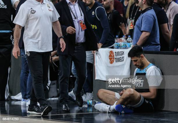 Gustavo Ayon of Real Madrid attends a training session ahead of the Turkish Airlines Euroleague Final Four at Sinan Erdem Dome in Istanbul Turkey on...