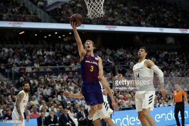 Gustavo Ayon of Real Madrid in action against Kevin Pangos of Barcelona Lassa during the Liga Endesa week 24 match between Real Madrid and FC...