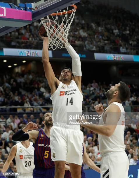 Gustavo Ayon of Real Madrid in action against Pau Ribas of Barcelona Lassa during the Liga Endesa week 24 match between Real Madrid and FC Barcelona...