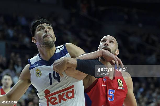 Gustavo Ayon of Real Madrid in action during the 2016/2017 Turkish Airlines EuroLeague Regular Season Round 16 game between Real Madrid v CSKA Moscow...