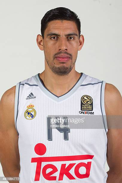 Gustavo Ayon of Real Madrid poses during the 2015/2016 Turkish Airlines Euroleague Basketball Media Day at Polideportivo Valle de Las Casas on...