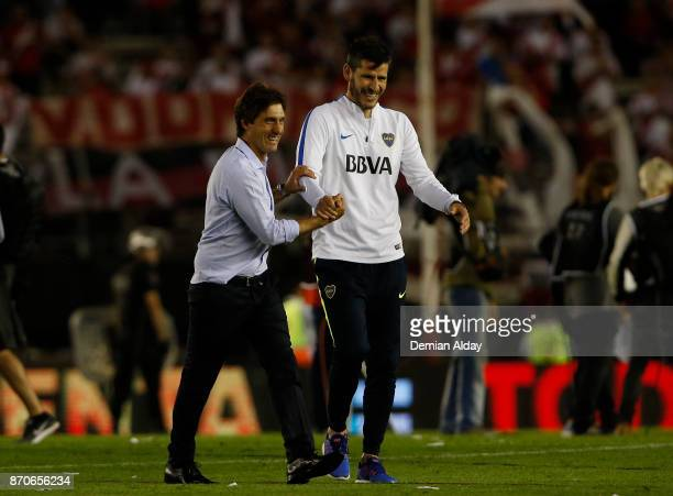 Gustavo Barros Schelotto second coach of Boca Juniors celebrates after winning a match between River Plate and Boca Juniors as part of the Superliga...
