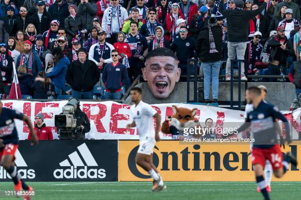 Gustavo Bou of New England Revolution facsimile amongst the fans during a game between Chicago Fire and New England Revolution at Gillette Stadium on...