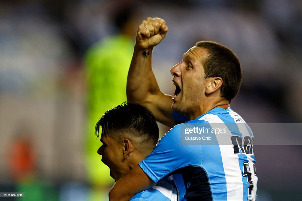 Gustavo Bou of Racing Club celebrates after scoring the second goal of his team during a match between Racing Club and Independiente as part of Torneo Primera Division 2016/17 at Presidente Peron Stadium on November 27, 2016 in Avellaneda, Argentina.
