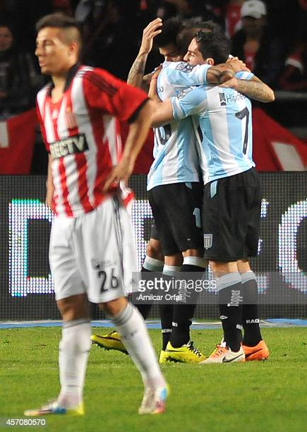 Gustavo Bou of Racing Club celebrates his second goal and third of his team during a match between Estudiantes and Racing Club as part of Torneo de...