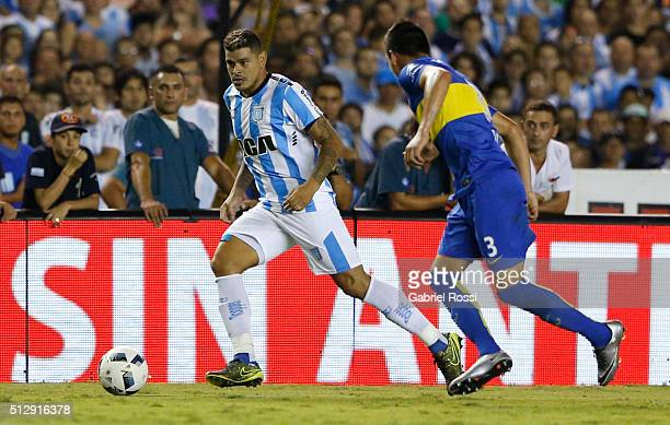 Gustavo Bou of Racing Club drives the ball during a fifth round match between Racing Club and Boca Juniors as part of Torneo Transicion 2016 at...