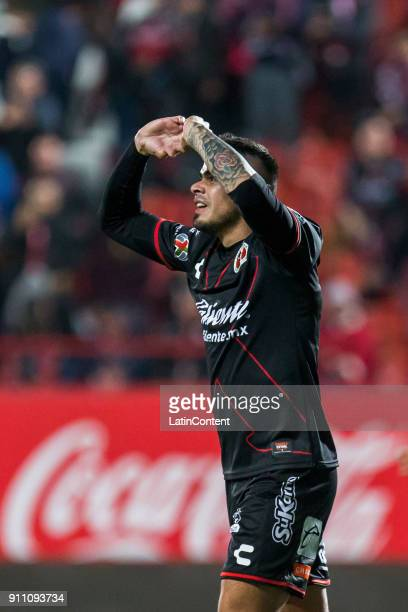 Gustavo Bou of Tijuana celebrates after scoring the first goal of his team during the 4th round match between Tijuana and Puebla as part of the...