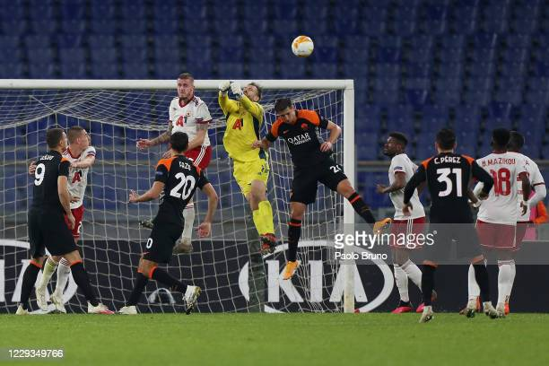 Gustavo Busatto of CSKA-Sofia in action against AS Roma players during the UEFA Europa League Group A stage match between AS Roma and CSKA-Sofia at...