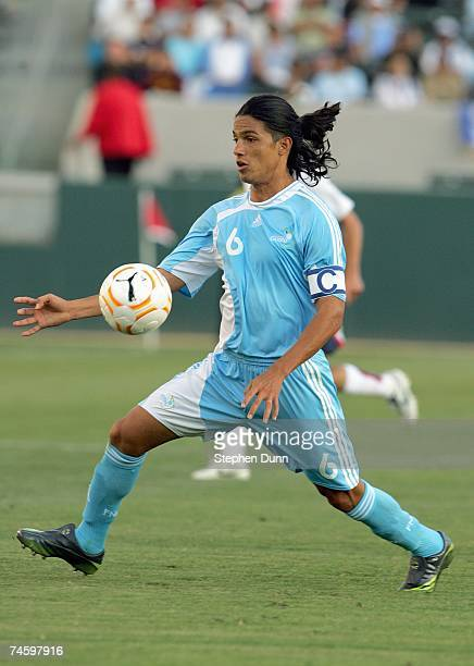 Gustavo Cabrera of Guatemala looks to play the ball during their CONCACAF Gold Cup first round match against the USA on June 7 2007 at the Home Depot...