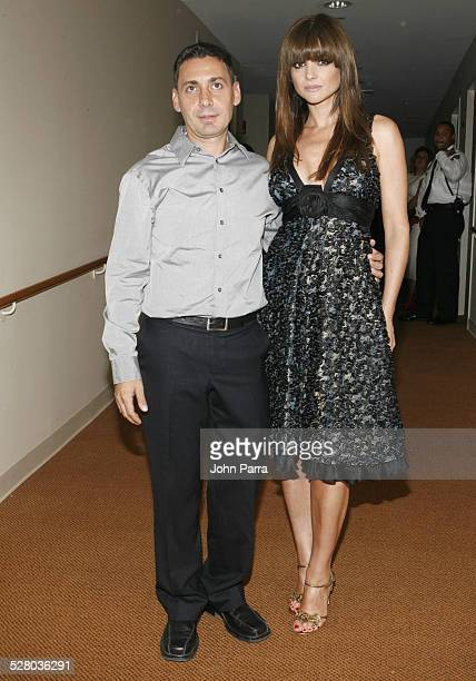 Gustavo Cadile and Araceli Gonzalez during Miami Fashion Week 2006 Harpers Bazaar en Espanol Collection Backstage at Knight Concert Hall in Miami...