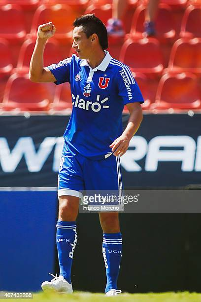 Gustavo Canales of U de Chile celebrates after scoring the third goal of his team during a match between Palestino and Universidad de Chile as a part...