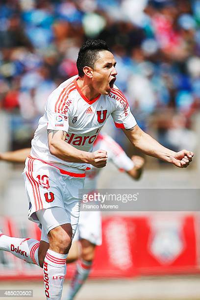 Gustavo Canales of Universidad de Chile celebrates after scoring the first goal of his team during a match between San Marcos de Arica and U de Chile...