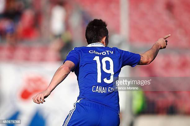 Gustavo Canales of Universidad de Chile celebrates after scoring the first goal of his team during a match between U de Chile and Palestino as part...