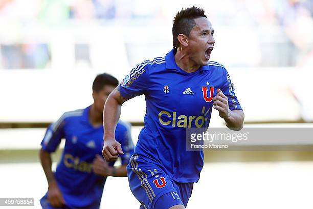 Gustavo Canales of Universidad de Chile celebrates the first goal against Nublense during a match between Nublense and Universidad de Chile as a part...