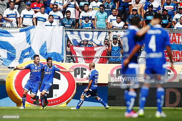 Gustavo Canales of Universidad de Chile celebrates the second goal against U Catolica during a match between U Catolica and Universidad de Chile as...