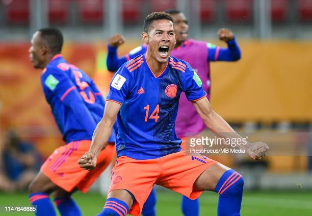 Gustavo Carvajal of Colombia celebrates victory after a series of penalty kicks during the FIFA U20 World Cup match between Colombia and New Zealand...