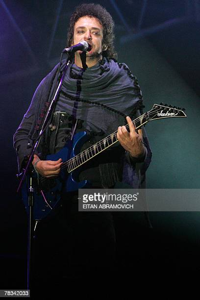 Gustavo Cerati leader of Argentina's rock band Soda Stereo performs during the band Me veras volver tour at the National Stadium in Lima 08 December...