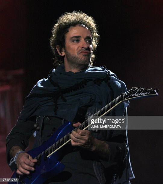 """Gustavo Cerati of Argentina's rock band Soda Stereo performs during the first concert of 2007 """"Me Veras volver"""" Tour at the Monumental stadium in..."""